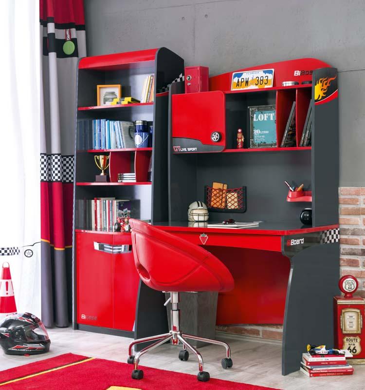 Παιδικό γραφείο μαζί με βιβλιοθήκη Young Racer για τα αγόρια. Το παιδικό  γραφείο διαθέτει 6 θήκες και τέσσερα συρτάρια. H μεγάλη επιφάνεια με το  ταμπλό ... 1d8e229cbc3