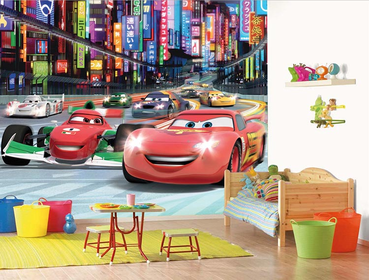Διακοσμηση παιδικού δωματίου με φωτοταπετσαρια Disney Cars Mcqueen