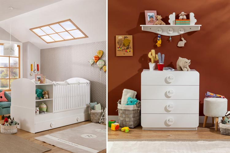 Μοντερνο βρεφικο δωματιο-κουνια για μωρα λευκα επιπλα