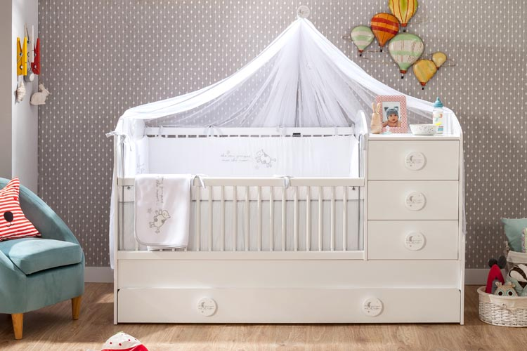 Μοντερνο βρεφικο δωμτιο-κουνια για μωρα λευκα