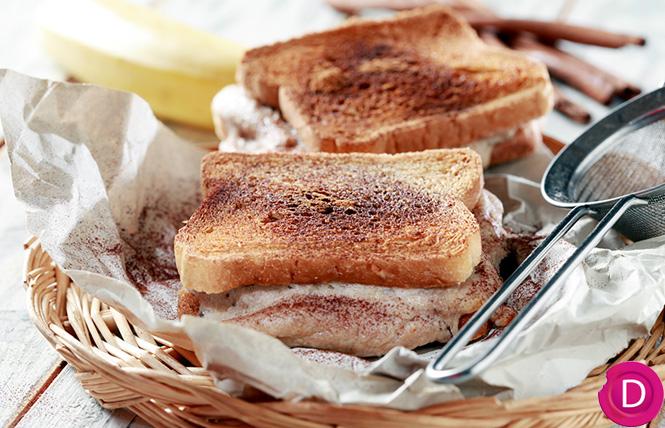 Croque γλυκό με μπανάνα και κανέλα