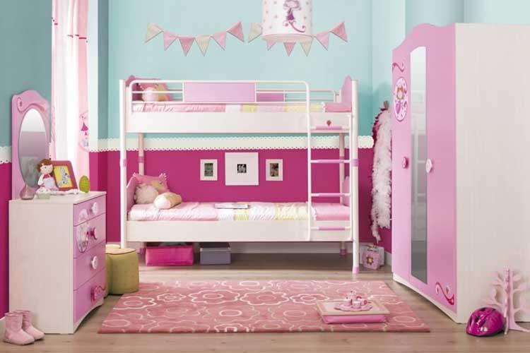 παιδική-κουκέτα-Cilek - παιδικη κουκετα λευκο με ροζ